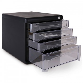 Deli 4 Transparent Document Tray (Black) 9794BK