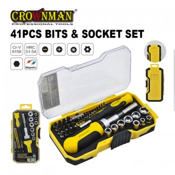 Crownman 41PCS Bits & Sockets Set 【YJ0607041  】