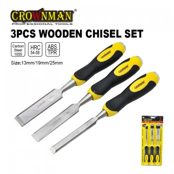 Crownman Firmer Chisel Set with Double Color TPR Handle【YJ0714753】