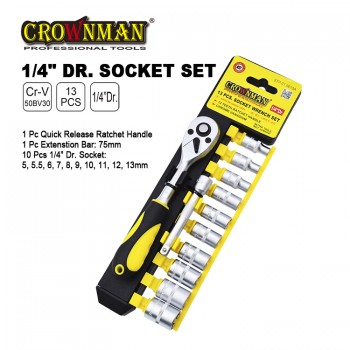 Crownman 13 Pieces Socket Wrench Set【YJ STP-01】