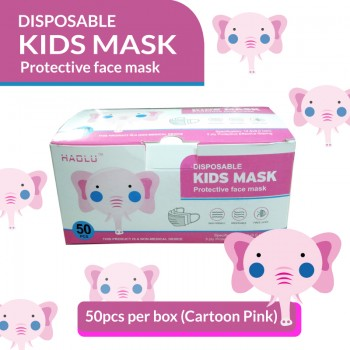 Disposable 3-Ply Kids Mask (Cartoon Pink)