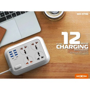Moxom ST06 Wall Extension Plug Cord with 4 Socket Outlets and 6 USB and 2 PD Charge 3.4A (2m)