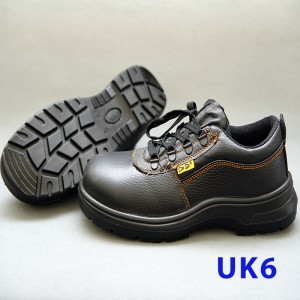 Black Grain Leather Laced Safety Shoe- Low Cut (UK 6)