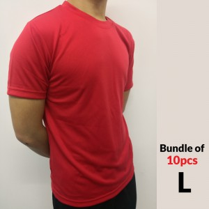 Microfiber Round Neck T-Shirt Size L - Red (Bundle 10pcs)