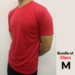 Microfiber Round Neck T-Shirt Size M - Red (Bundle 10pcs)