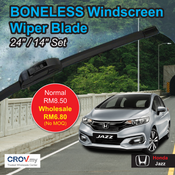 "Boneless Windscreen Wiper Blade Set (24""/14"") for Honda Jazz"