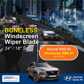 "Boneless Windscreen Wiper Blade Set (24""/18"") for Hyundai Santa FE"