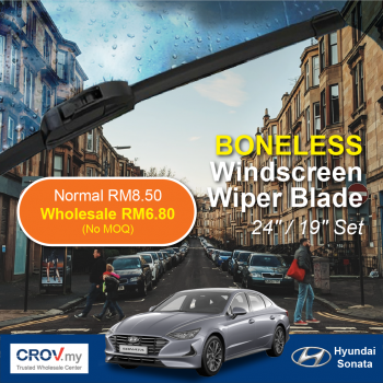 "Boneless Windscreen Wiper Blade Set (24""/19"") for Hyundai Sonata"