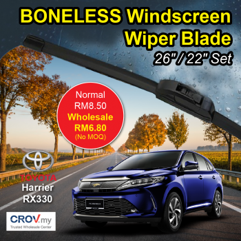 "Boneless Windscreen Wiper Blade Set (26""/22"") for Toyota Harrier RX330"