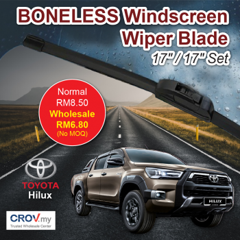 "Boneless Windscreen Wiper Blade Set (17""/17"") for Toyota Hilux"
