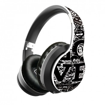 Lule Wireless Bluetooth Graffiti Design Earphone - Black