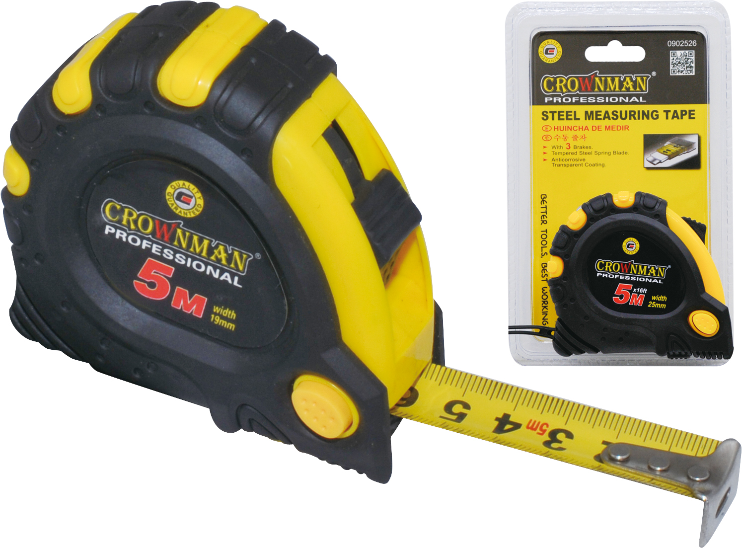 Crownman 5mx19mm Steel Measuring Tape ABS Case with TPR Coating【YJ0902525】