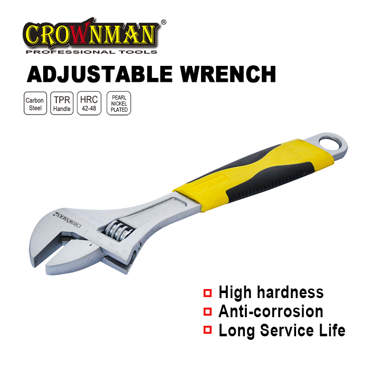 """Crownman 8"""" Adjustable Wrench with Double Color Handle【YJ0401608】"""